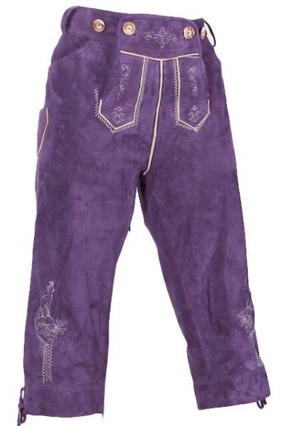 7432 Kaiserjäger Damen Kniebund Lederhose Gr 34 violett