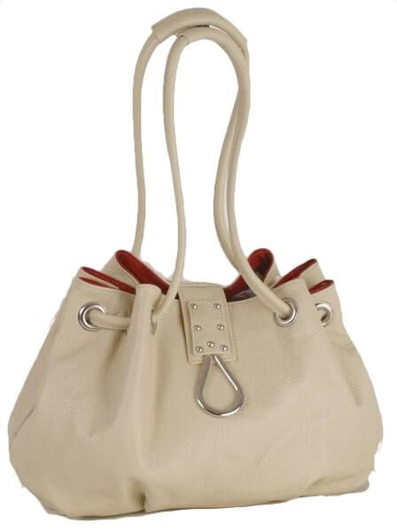 BE14 Ledertasche in beige rot