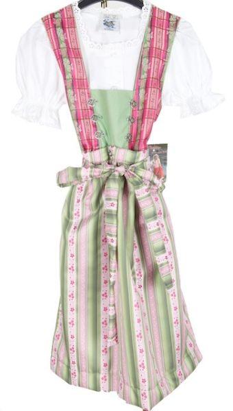 64301 Süsses Kinderdirndl in grün pink mit Bluse