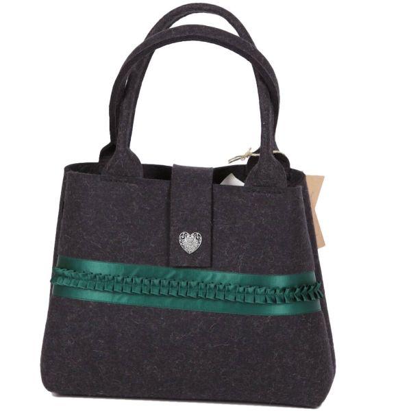 bag+ Trachtentasche Dorfen schwarzmelliert grüner Borte