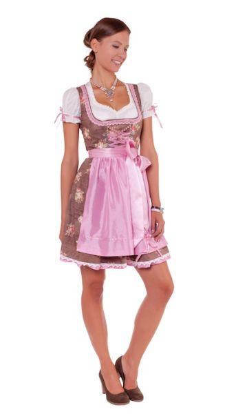 10662 mini Dirndl Larissa II 60er braun rosa