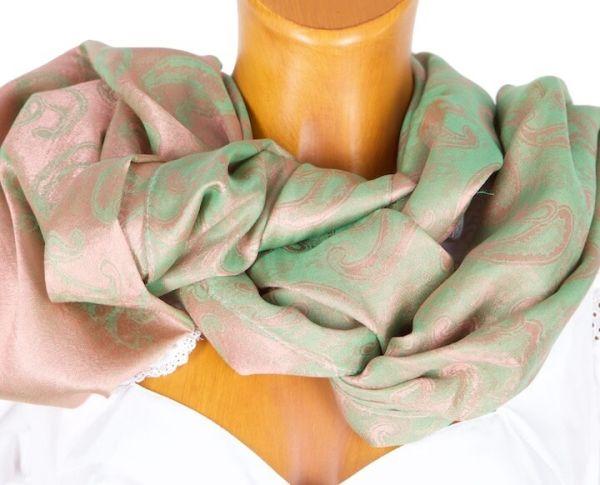 Cassandra Trachtenschal 61127 12 grün lachs
