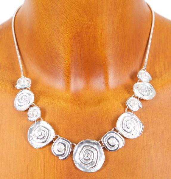 ZW 2 Spiralencollier mit Perlen