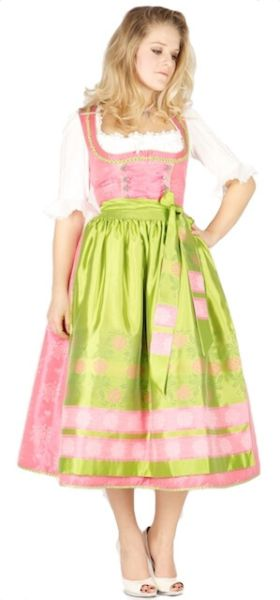 8297 Krüger Manufaktur 85er Dirndl pink grün
