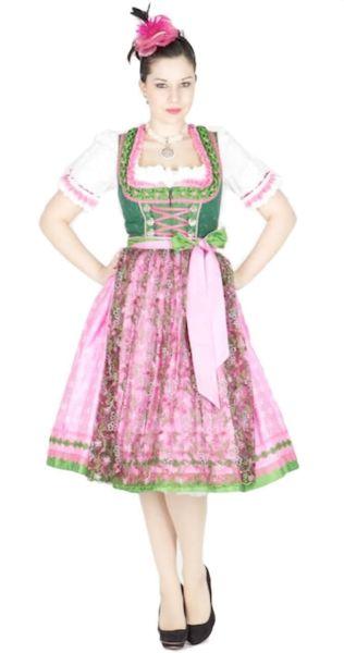 10107 Krüger Manufaktur Dirndl 70er pink grün