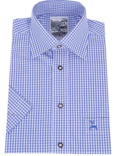 99209/2 Herren Trachtenhemd Gr S blau weiß karo kurzarm