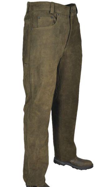 Hubertus 5 pocket Jagd Lederhose Trapper 10451906 oliv 315