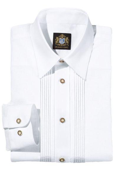Hammerschmid Herren Trachtenhemd 1911004 weiss Biesen