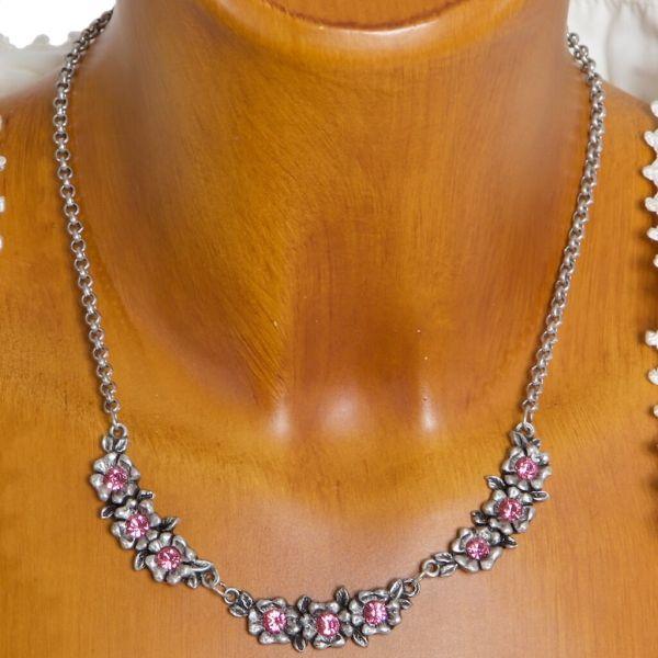 HK88 2012 Strassblütenkette mit rose Swarovski Elementen