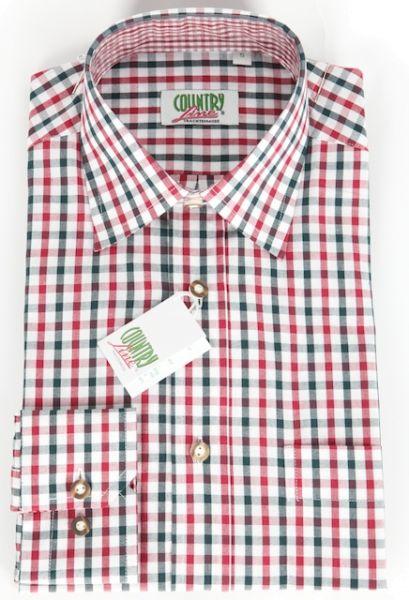 99284 Herren Trachtenhemd rot tanne karo