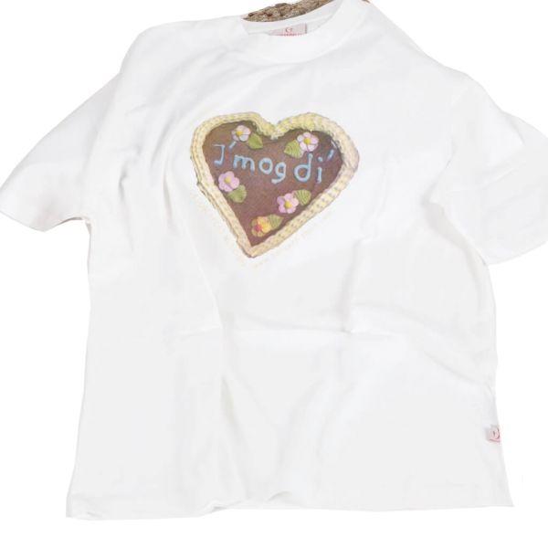 Girardelli T-Shirt weiß mit Lebkuchenherz-Motiv I mog di