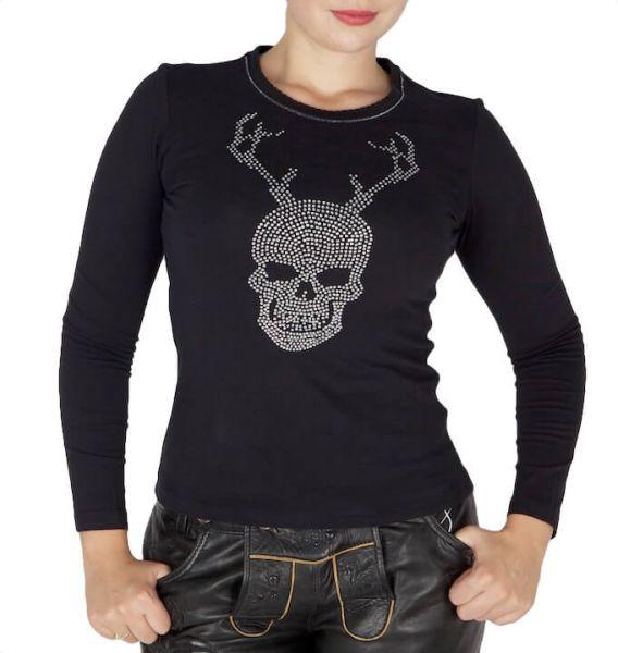 ZauberAlm T-Shirt Skull Strass komplett schwarz