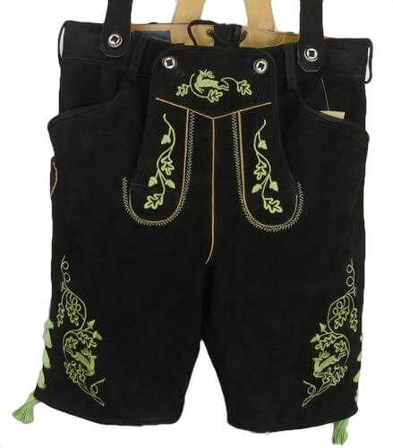 Gmain kurze Lederhose schwarz grüngestickt