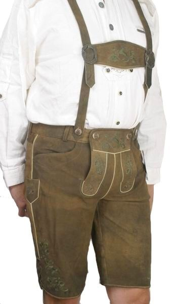 Franzl kurze Lederhose rustic dunkeloliv
