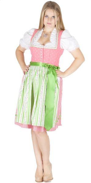 12151 Country Line Dirndl 60er pink grasgrün