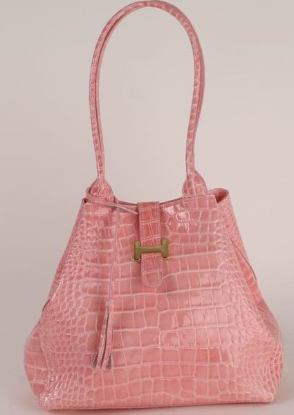 BE35 Damen Lack Ledertasche rosa in Beutelform