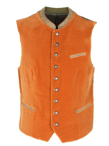 Gilet Herrenweste Stams Samt in orange (065)