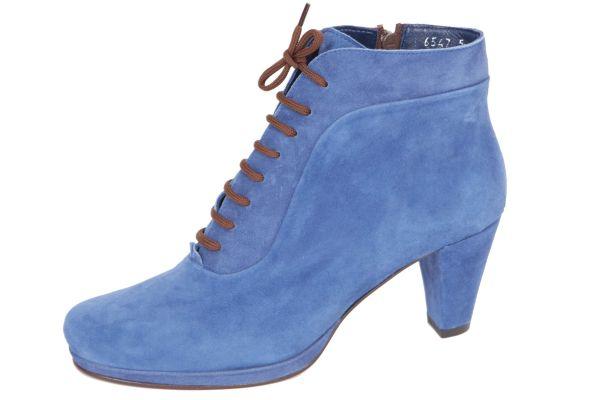 1949-2 Damen Trachtenstiefeletten Samtziege azurblau