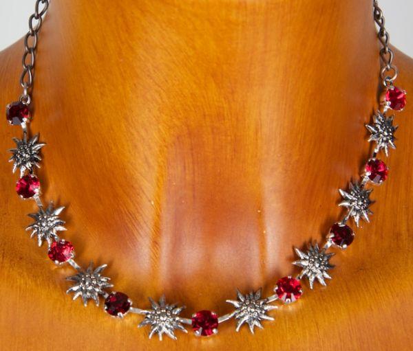 C8183 Exclusive Halskette mit Strass Edelweiss vers.Farben
