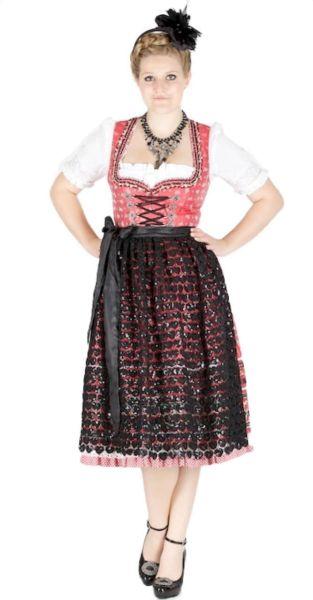 10766 Krüger Manufaktur 70er Dirndl rot schwarz