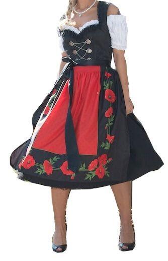 6336 Country LIne 70er Dirndl Mohnblume schwarz rot
