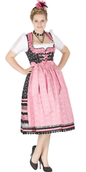 10914 Krüger Manufaktur 70er Dirndl schwarz pink