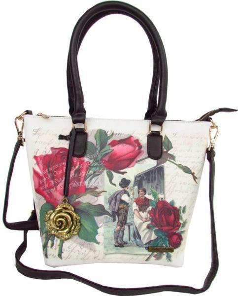 16302 Lady Edelweiss Trachtentasche mit Rosen und Pärchendruck