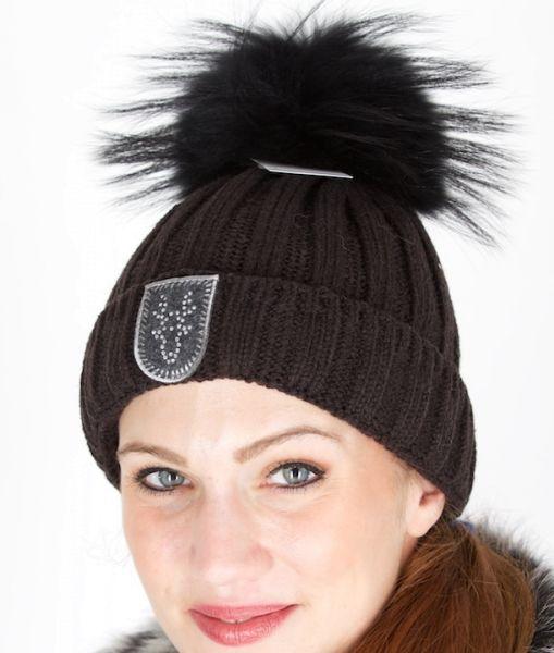 Linord Strickmütze Tavo Deer schwarz mit schwarzem Bommel