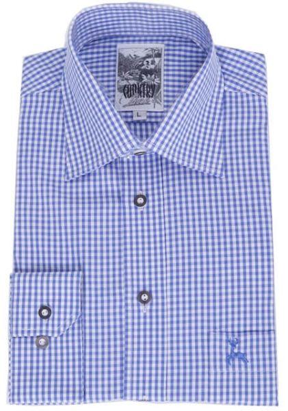 99209 Herren Trachtenhemd Gr S blau weiß karo