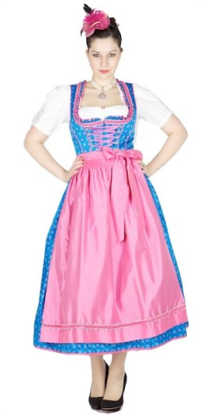 10100 Krüger Manufaktur Dirndl 85er blau pink