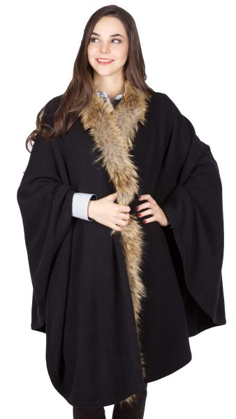 Kaiseralm Damen Strick Cape DS946-PO5 schwarz Fb 999