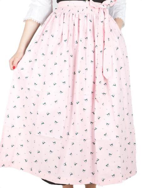 2640 Dirndlschürze 95er rosa grüne Hirschen