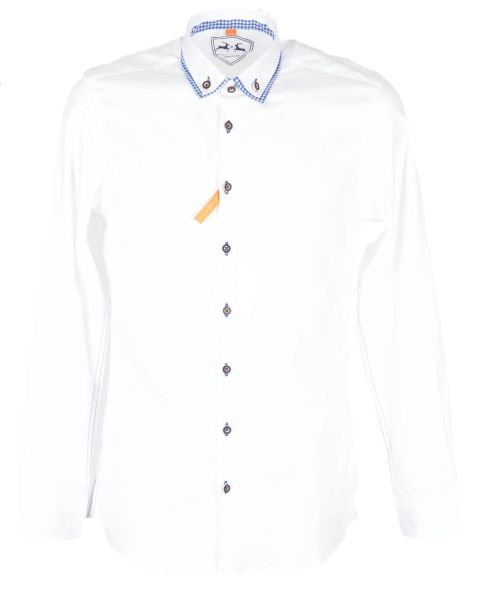 Country Maddox Herren Hemd 14 weiss blau slim Line
