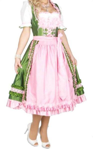 7061 Krüger Manufaktur 70er Dirndl grün rosa Federstoffblumen