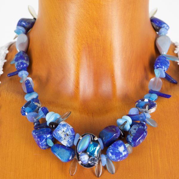 6715/K1 Halskette mit blauen echten Mineralsteine
