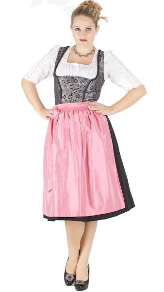 13540 Wenger Dirndl Nani 70er Gr 38 silber schwarz rosa