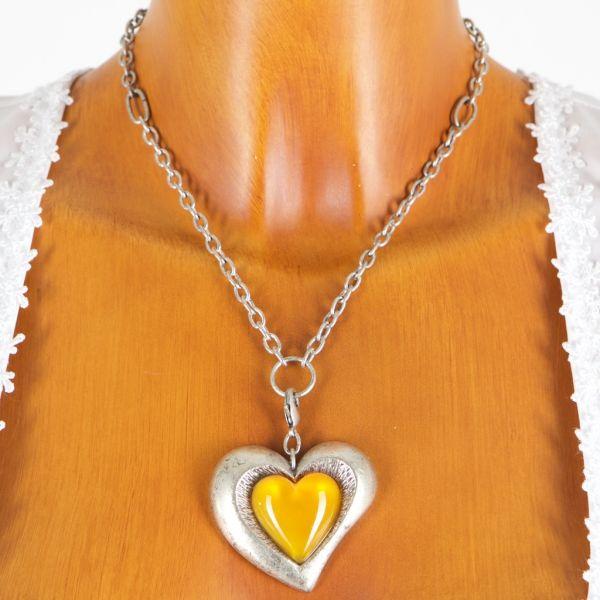 4149 Alpenwahn rustikales grosses Herz mit sonnengelbem Stein