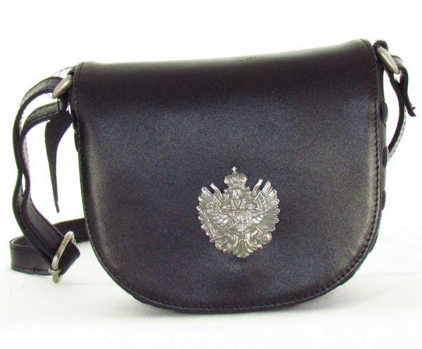 14798 Lady Edelweiss Trachtentasche schwarz mit Wappen echt Leder