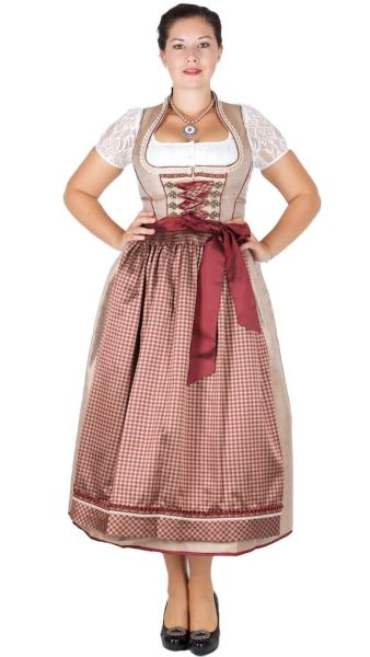 Krüger Collection 85er Dirndl 15674 bronze bordeaux