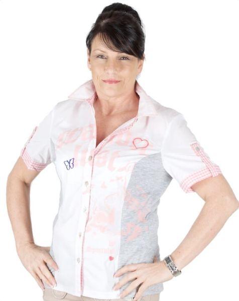 Sportalm Bluse Ronja kurzarm weiß mit rosa