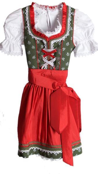 2101 Bergweiss Kinderdirndl mit Bluse rot grün
