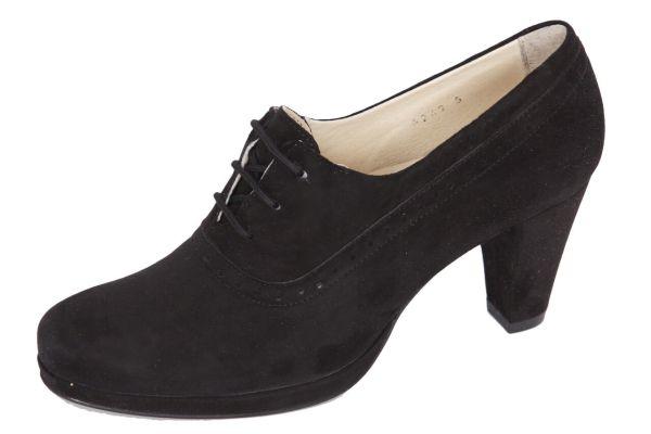 1986-2 Damen Trachtenpumps Samtziege schwarz
