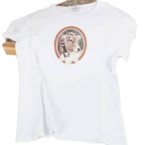 Alpenstyle T-Shirt weiß mit Kuh-Motiv
