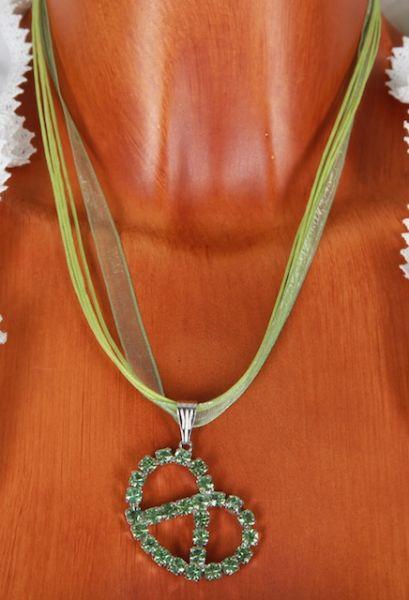 51000 grüne Brezen Halskette Strass am Seidenband