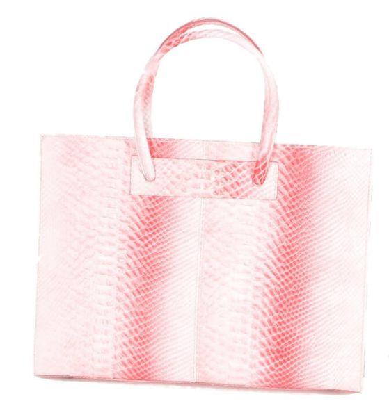 3937 Damen Lederhandtasche in pink rosa weiß