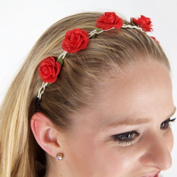 26007 Haarband mit Blüten rot