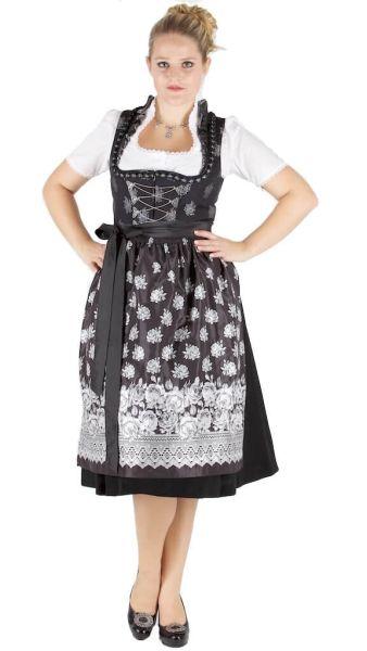 13954 Wenger Dirndl 70er Gr 38 schwarz silber