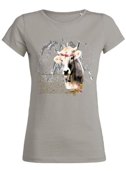 Lady Edelweiss Damen T-Shirt 20427 Kuh mit Blumenkranz Gr M Opal