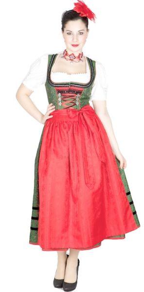 10226 Krüger Manufaktur Dirndl 85er grün rot