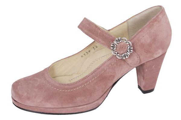 1920-2 Damen Trachtenpumps Samtziege rosenholz light